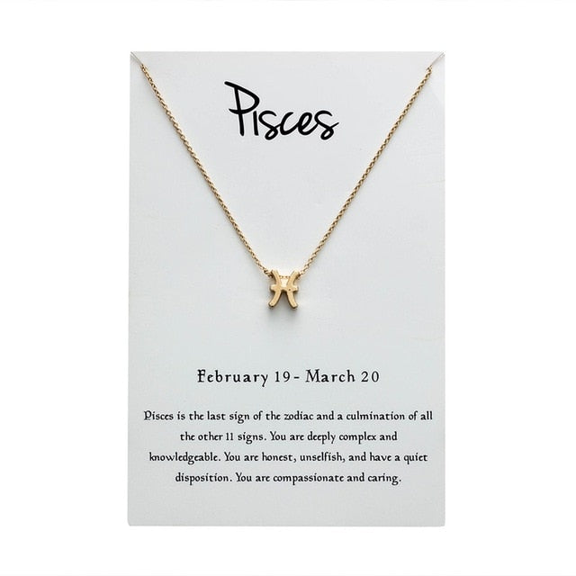 Pisces Star Sign Charm Necklace Gold & Silver Star Sign Chain | Star Sign Gift