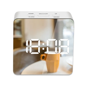 Square Stylish LED Mirror Alarm Clock | Home Decor Gift's