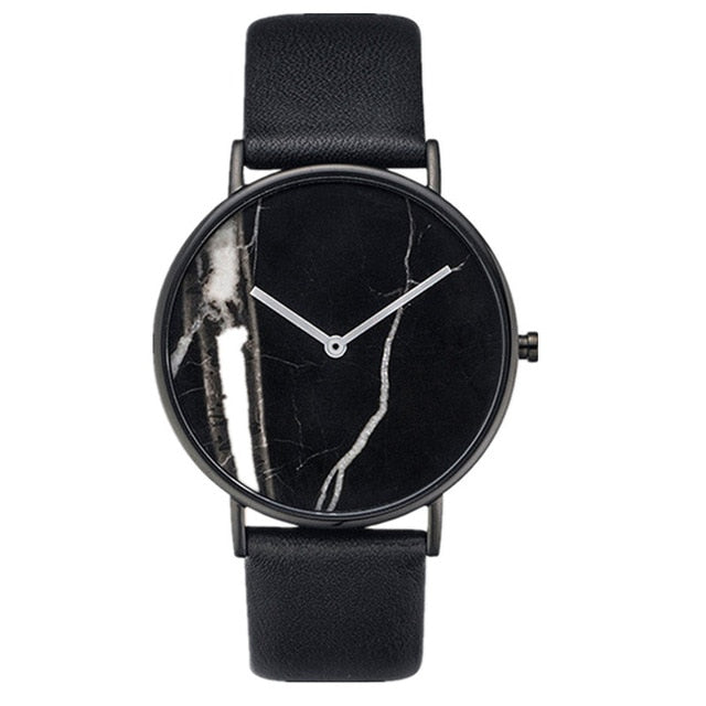 Stylish Oversized Luxury Marble Watch | Classic Black Watch