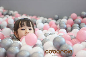 Grey, White & Pink Soft Plastic Toy Balls for Ball Pit | Children's Play Pen | Stylish Children's Toy's