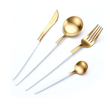 Stylish Stainless Steel White & Gold Cutlery Set | Affordable Home Gifts