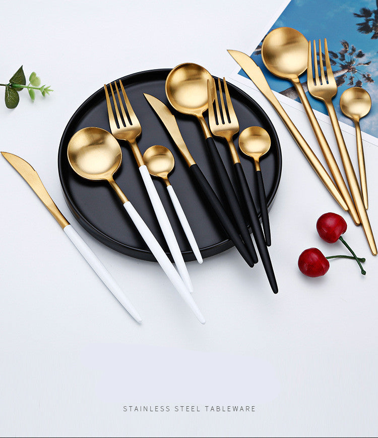Stylish Stainless Steel Black Cutlery Set | Affordable Home Gifts