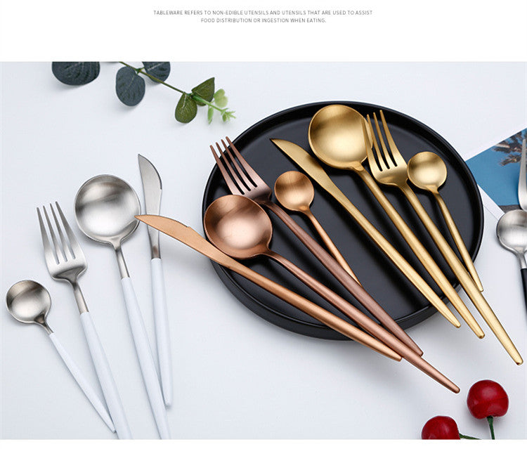 Stylish Stainless Steel Pink & Gold Cutlery Set | Affordable Home Gifts