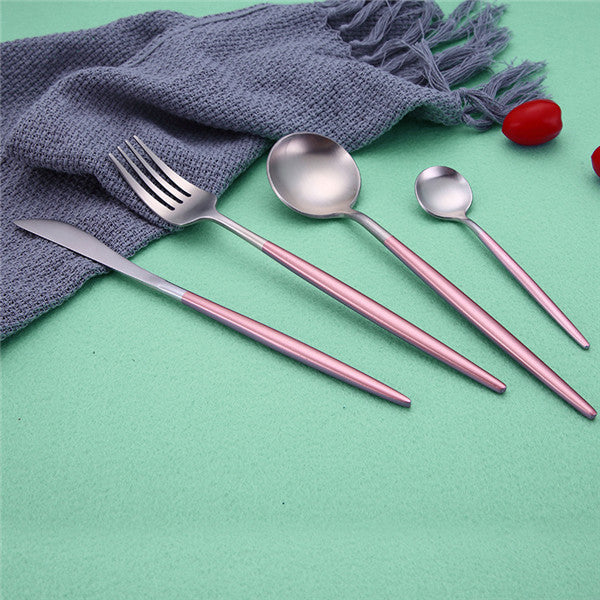 Stylish Stainless Steel Pink & Silver Cutlery Set | Affordable Home Gifts