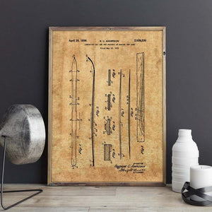 Brown Blueprint Ski's Wall Art | Home Decor Canvas | Stylish Home essentials