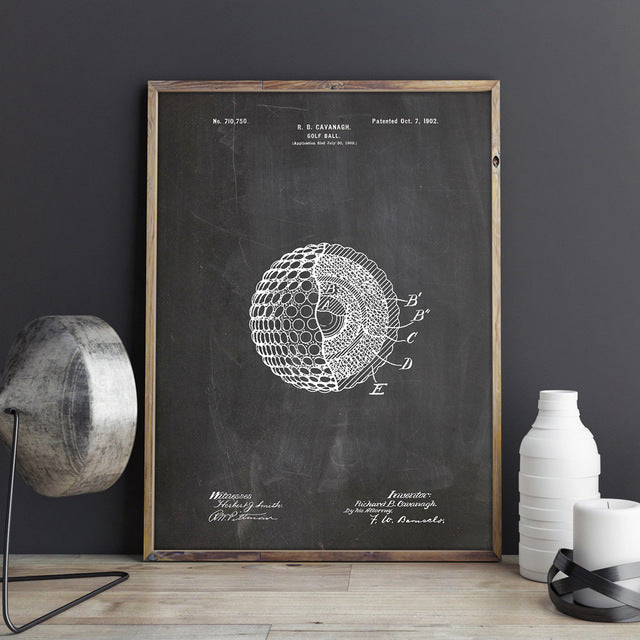 Black & White Blueprint of a golf ball wall art
