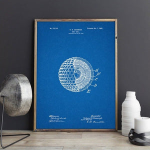 Blueprint of a golf ball wall art | Canvas Wall Art