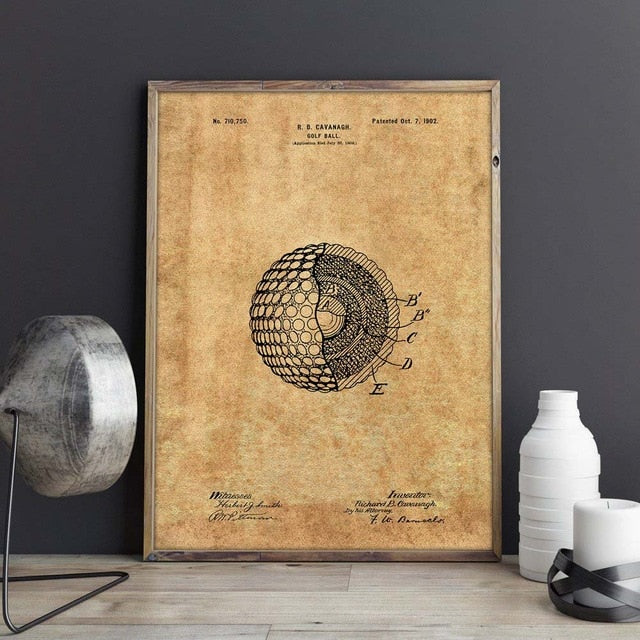 Brown Blueprint of a golf ball wall art | Affordable wall art