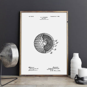 White & Black Blueprint of a golf ball wall art | Home gift's