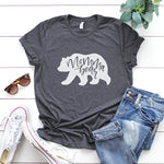 Grey & White Momma bear Slogan Tee shirt | Women's casual clothing