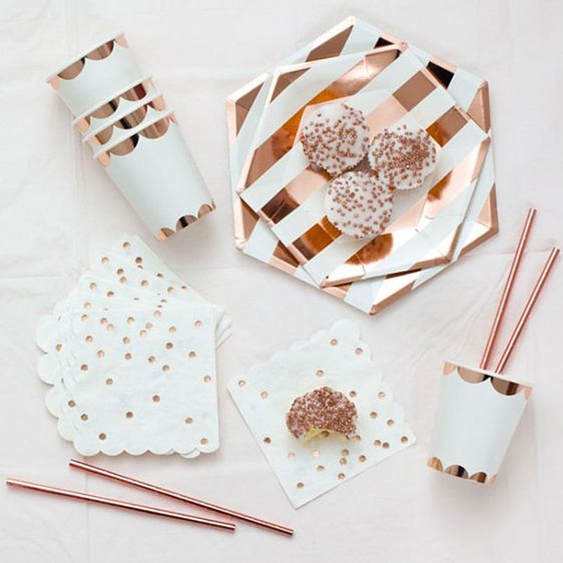 Rose Gold Disposable Tableware | Party Accessories | Paper plates & Cutlery