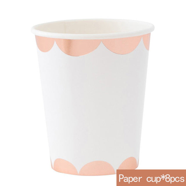 Rose Gold Disposable Tableware | Party Accessories | Paper Cups