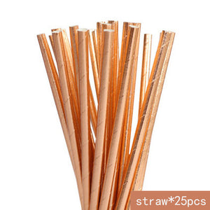 Rose Gold Disposable Tableware | Party Accessories | Paper straws