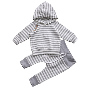 Cute Striped Grey baby hoody and jogger set | Cute Baby Clothing