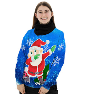 UGLY CHRISTMAS SWEATER ALL OVER PRINTED CHRISTMAS SWEATSHIRT DABBING SANTA