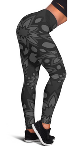 BLACK FLOWER HIGH WAIST FASHION LEGGINGS