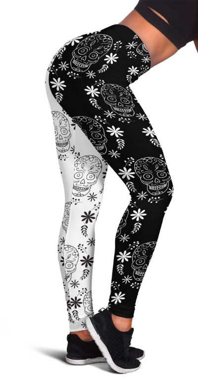 BLACK & WHITE SKULL HIGH WAIST FASHION LEGGINGS