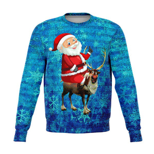 UGLY CHRISTMAS SWEATER ALL OVER PRINTED CHRISTMAS SWEATSHIRT HAPPY SANTA