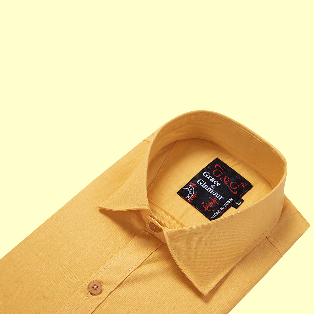 Grace And Glamour Casual Single Shirt for Men - Amber