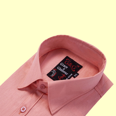Grace & Glamour Cotton Full Sleeve Casual Single Shirt for Men -Pink