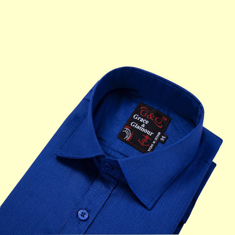 Grace  and  Glamour Cotton Full Sleeve Casual Single Shirt for Men - blue