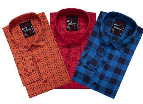 Combo of 3 Cotton Full Sleeve Check Shirt for Men Orange-Pink-Firoziblack