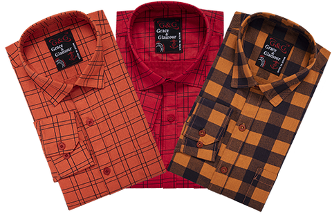 Combo of 3 Cotton Full Sleeve Check Shirt for Men Orange-Pink-Orangeblack