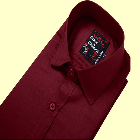 Grace & Glamour Cotton Full Sleeve Casual Shirt for Men -Maroon