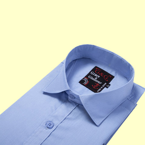 Grace & Glamour Cotton Full Sleeve Casual Shirt for Men -Light Blue