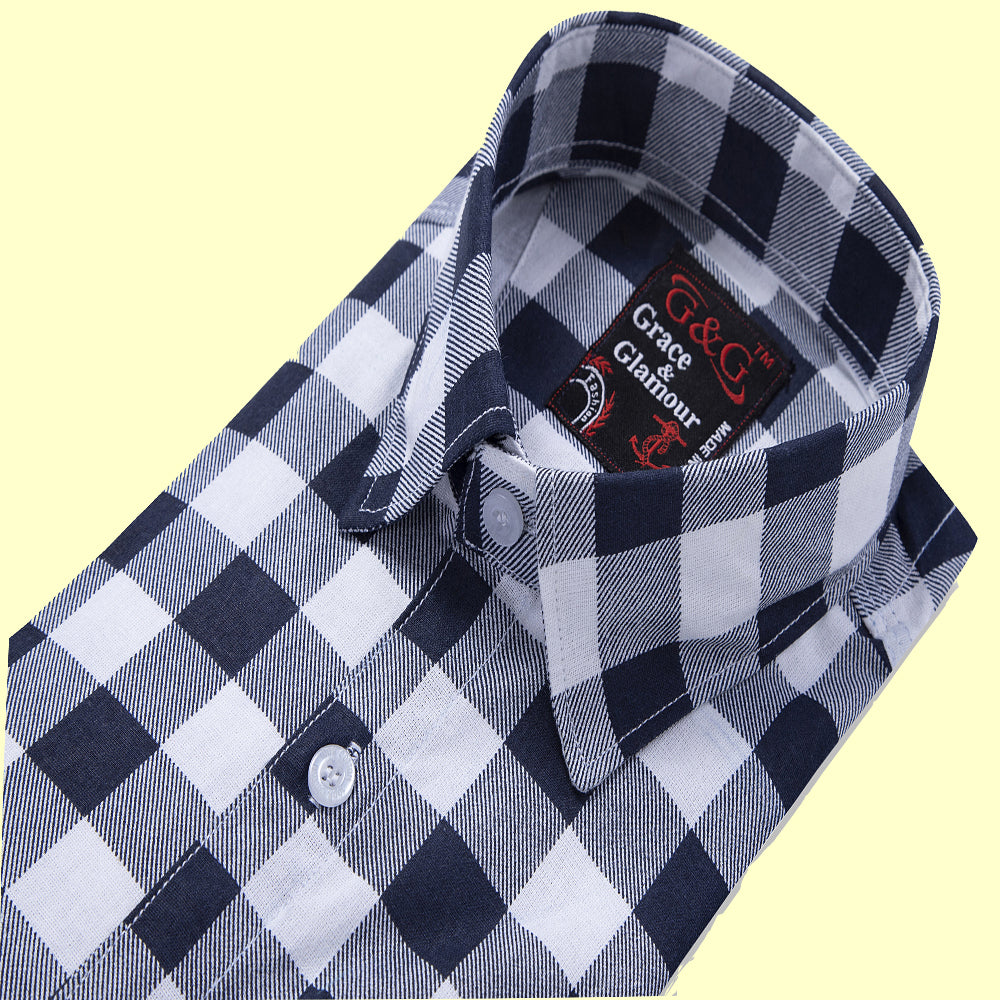Grace & Glamour Cotton  Casual Single Shirt-White Black