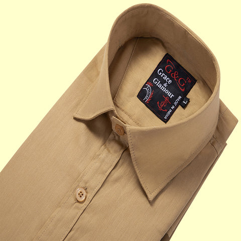 Grace and Glamour Cotton Full Sleeve Plain Shirt for Men