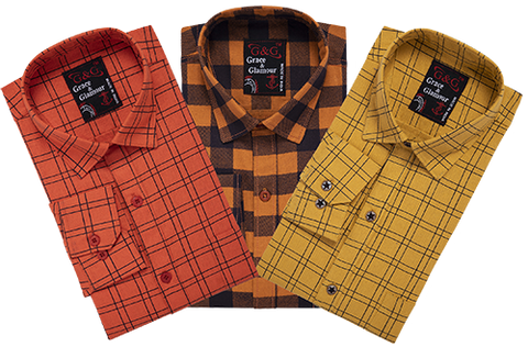 Combo of 3 Cotton Full Sleeve Check Shirt for Men Orange-Orangeblack-Yellow