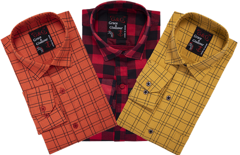 Combo of 3 Cotton Full Sleeve Check Shirt for Men Orange-Pinkblack-Yellow