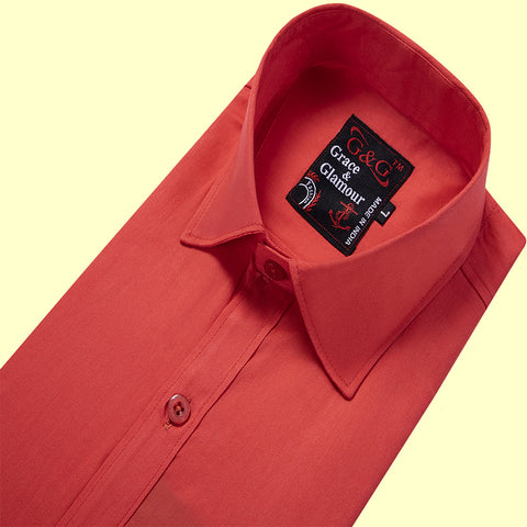 Grace and Glamour Cotton Full Sleeve Casual Single Shirt for Men - Dark pink