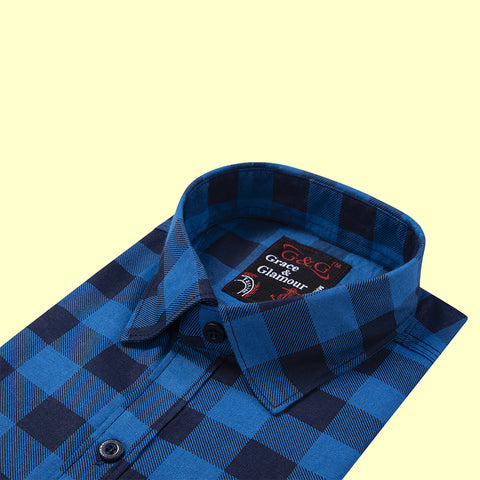Grace and Glamour Casual Single Shirt for Men-Blue-Black