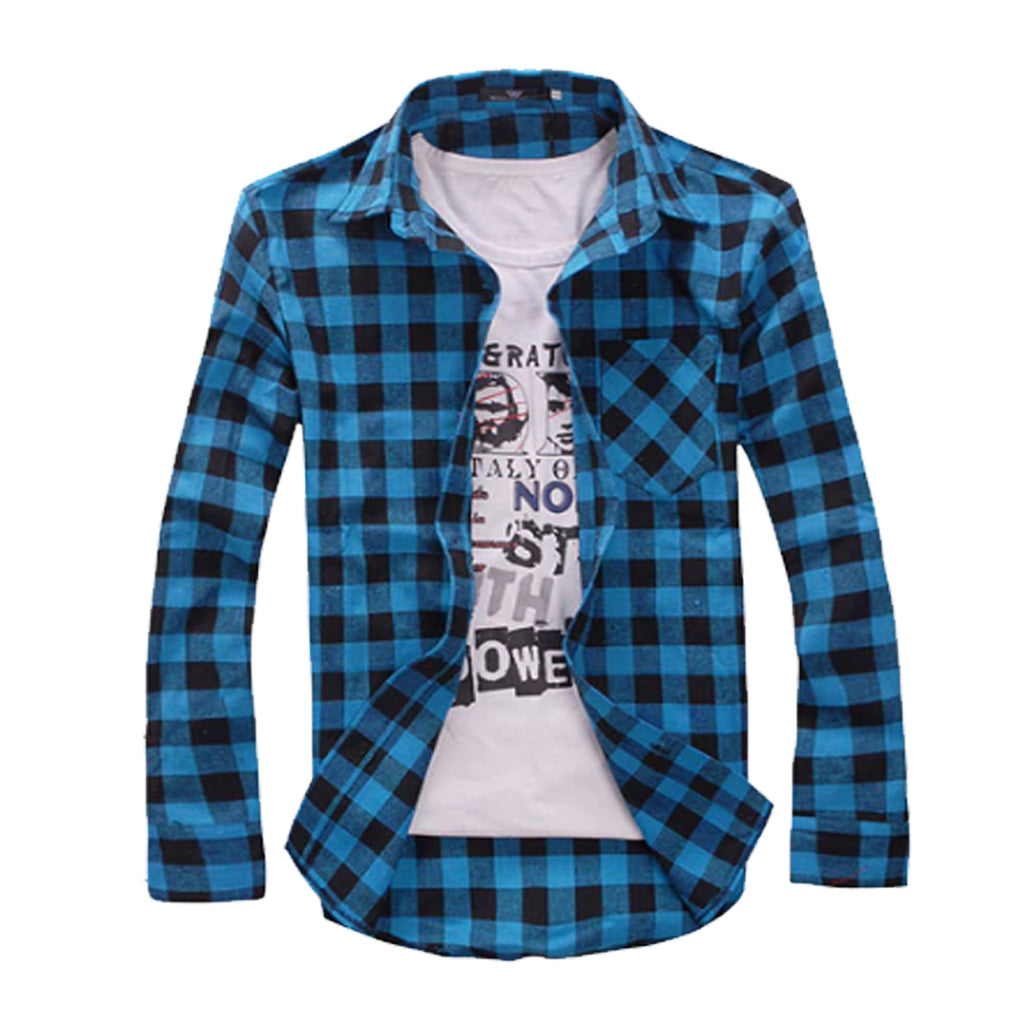 Combo of 2 Cotton Full Sleeve Check Shirt for Men - White-blue