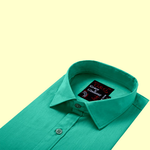 Grace & Glamour  Full Sleeve Cotton Shirt for Men - Green
