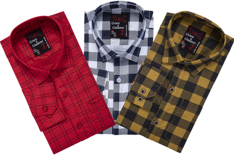 Combo of 3 Cotton Full Sleeve Check Shirt for Men Pink-Whiteblack-Yellowblack