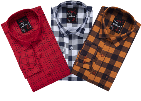 Combo of 3 Cotton Full Sleeve Check Shirt for Men   Pink-Whiteblack-Orangeblack