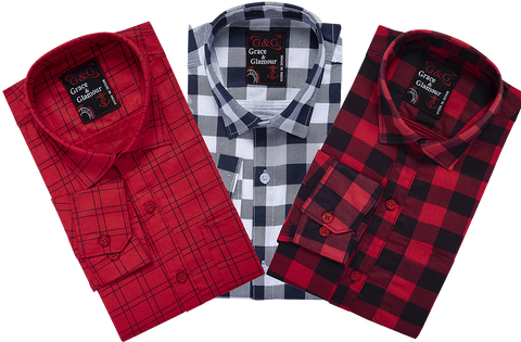 Combo of 3 Cotton Full Sleeve Check Shirt for Men Pink-Whiteblack-Pinkblack