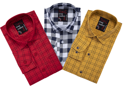 Combo of 3 Cotton Full Sleeve Check Shirt for Men Pink-Whiteblack-Yellow