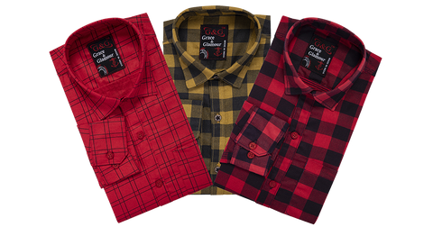 Combo of 3 Cotton Full Sleeve Check Shirt for Men Pink-Yellowblack-Pinkyellow