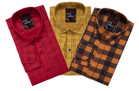 Combo of 3 Cotton Full Sleeve Check Shirt for Men Pink-Orange-Orangeblack