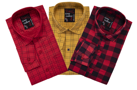 Combo of 3 Cotton Full Sleeve Check Shirt for Men Pink-Orange-Pink black