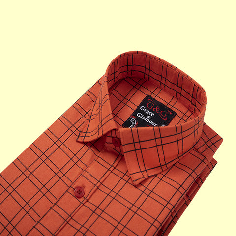 Grace  and Glamour Cotton Full Sleeve Casual Single Shirt for Men-Orange