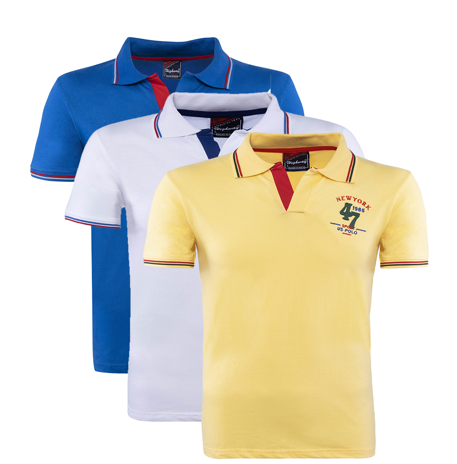 Grace and Glamour Polo Collar Half Sleeve T-Shirt Blue-White-Yellow for Men(Combo of 3)