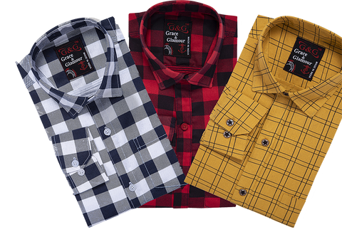 Combo of 3 Cotton Full Sleeve Check Shirt for Men Whiteblack-Pinkblack-Yellow