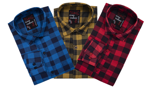 Combo of 3 Cotton Full Sleeve Check Shirt for Men Firoziblack-YellowBlack-Pinkblack