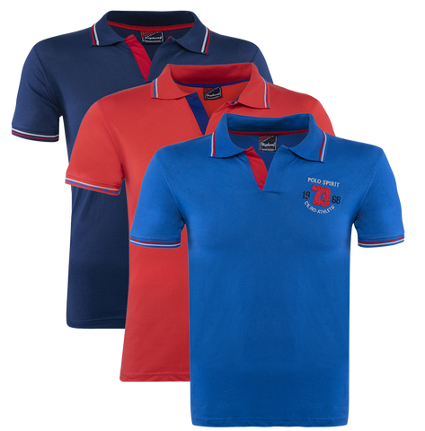 Combo of Red-Blue-Navy Blue Cotton Polo Collar Half Sleeve T-Shirt for Men