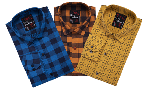 Combo of 3 Cotton Full Sleeve Check Shirt for Men  Firoziblack-Orangeblack-Yellow